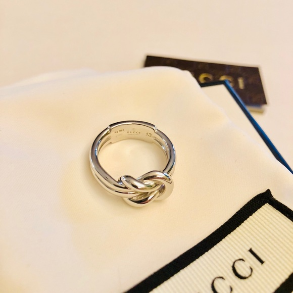 4fba0df580049 New Gucci Piccolo Sterling Silver Knot Ring Sz 6.5